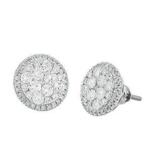 14K White Gold 1.50 Ct Diamond Luna Cluster Earrin